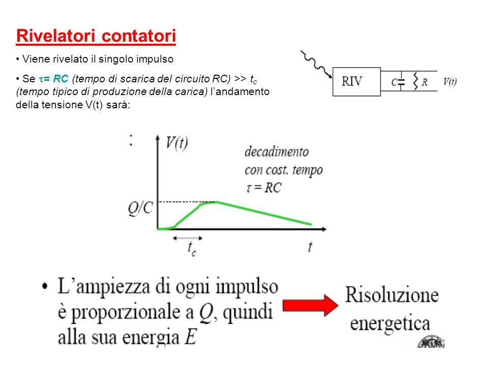 Rivelatori contatori Viene rivelato il singolo impulso Se = RC (tempo di scarica del circuito RC) >> t c (tempo tipico di produzione della carica) lan
