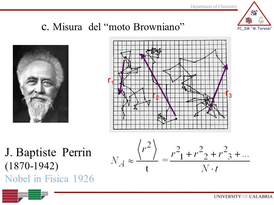 c. Misura del moto Browniano J. Baptiste Perrin (1870-1942) Nobel in Fisica 1926 r1r1 r2r2 r3r3