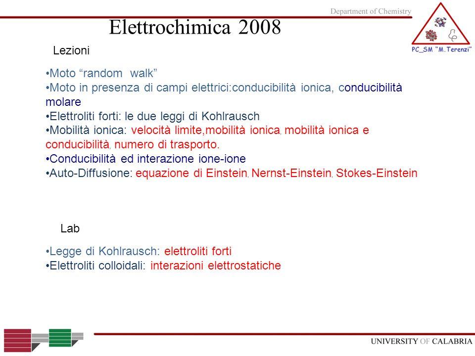 Moto random walk Moto in presenza di campi elettrici:conducibilità ionica, conducibilità molare Elettroliti forti: le due leggi di Kohlrausch Mobilità