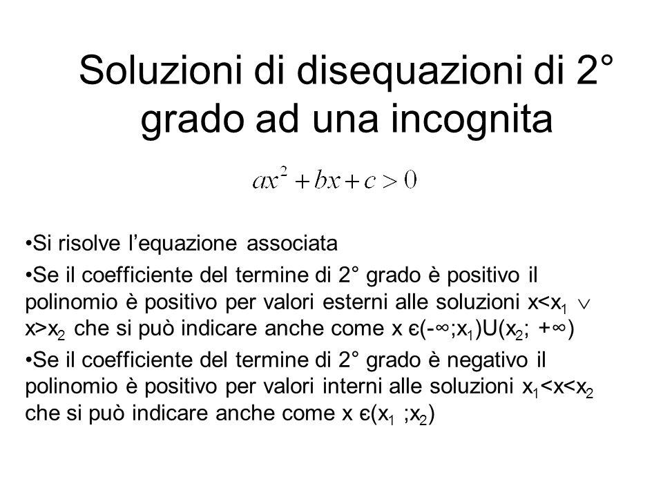 Soluzioni di disequazioni di 2° grado ad una incognita Si risolve lequazione associata Se il coefficiente del termine di 2° grado è positivo il polino