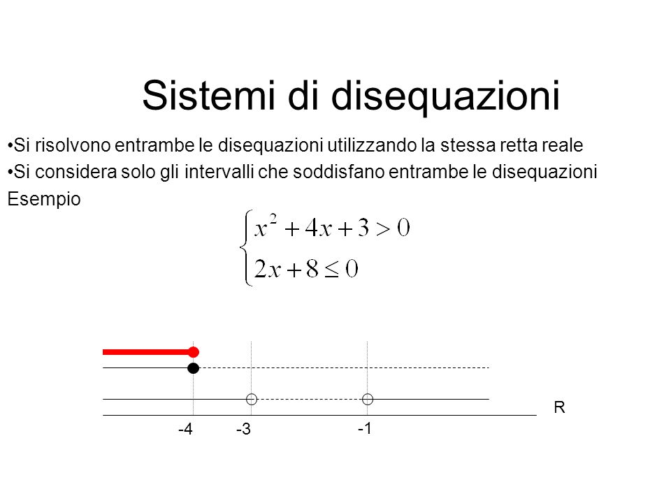Sistemi di disequazioni Si risolvono entrambe le disequazioni utilizzando la stessa retta reale Si considera solo gli intervalli che soddisfano entram