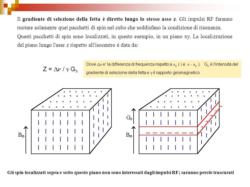 Il gradiente di selezione della fetta è diretto lungo lo stesso asse z. Gli impulsi RF faranno ruotare solamente quei pacchetti di spin nel cubo che s