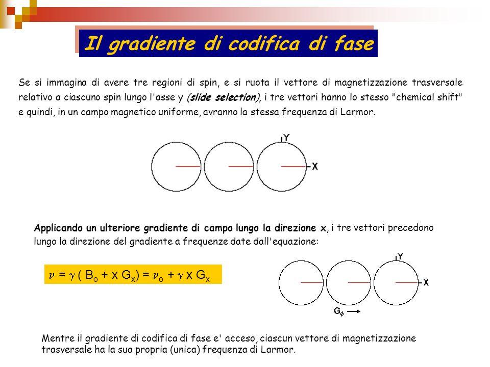 Se si immagina di avere tre regioni di spin, e si ruota il vettore di magnetizzazione trasversale relativo a ciascuno spin lungo l'asse y (slide selec