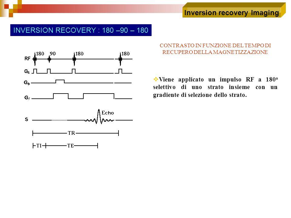 CONTRASTO IN FUNZIONE DEL TEMPO DI RECUPERO DELLA MAGNETIZZAZIONE Inversion recovery Imaging INVERSION RECOVERY : 180 –90 – 180 Viene applicato un imp