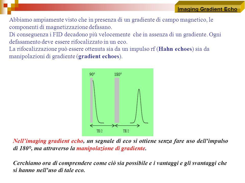 Imaging Gradient Echo Abbiamo ampiamente visto che in presenza di un gradiente di campo magnetico, le componenti di magnetizzazione defasano. Di conse