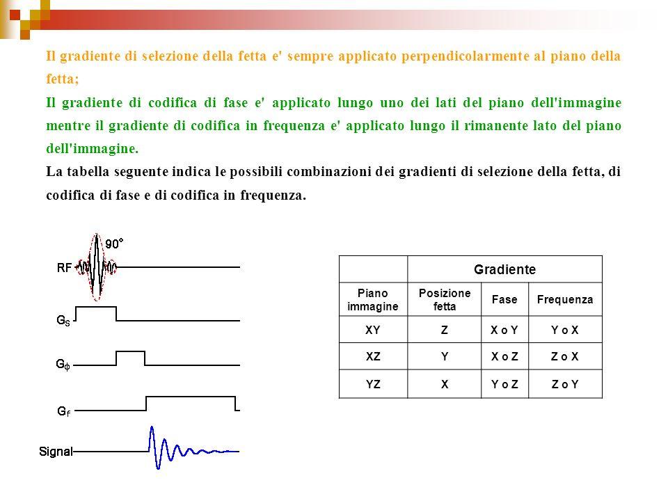 Il gradiente di selezione della fetta e' sempre applicato perpendicolarmente al piano della fetta; Il gradiente di codifica di fase e' applicato lungo
