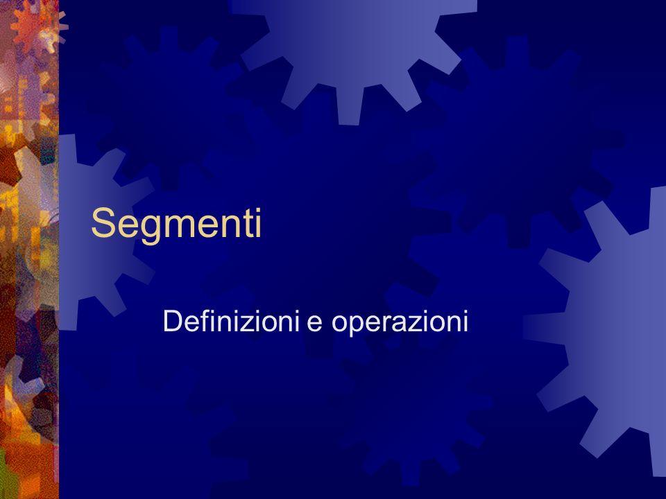 Segmenti Definizioni e operazioni