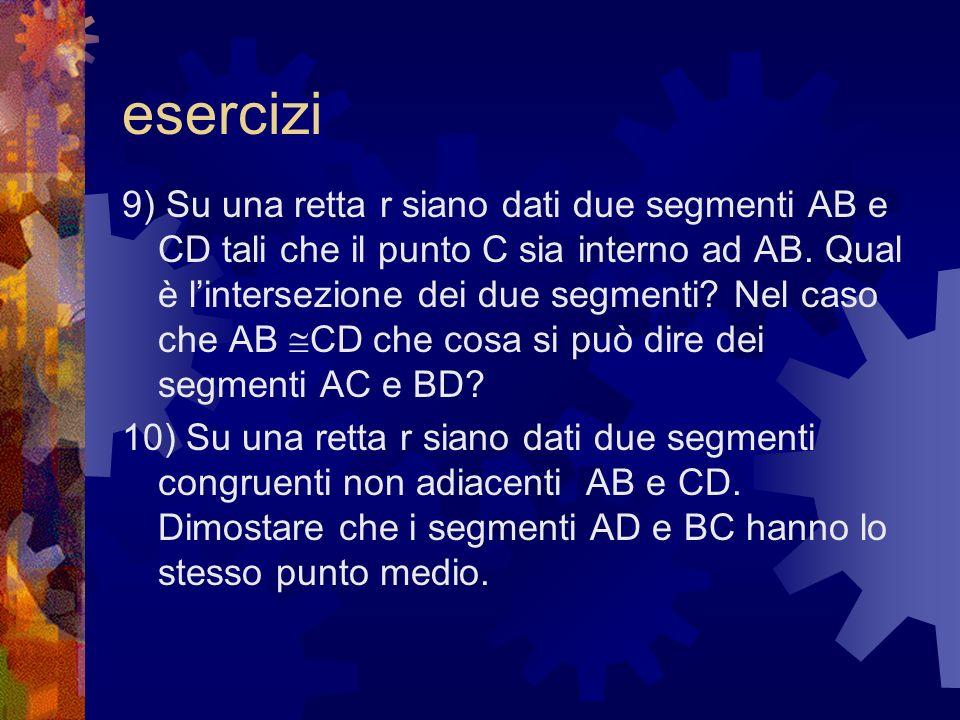 esercizi 9) Su una retta r siano dati due segmenti AB e CD tali che il punto C sia interno ad AB. Qual è lintersezione dei due segmenti? Nel caso che