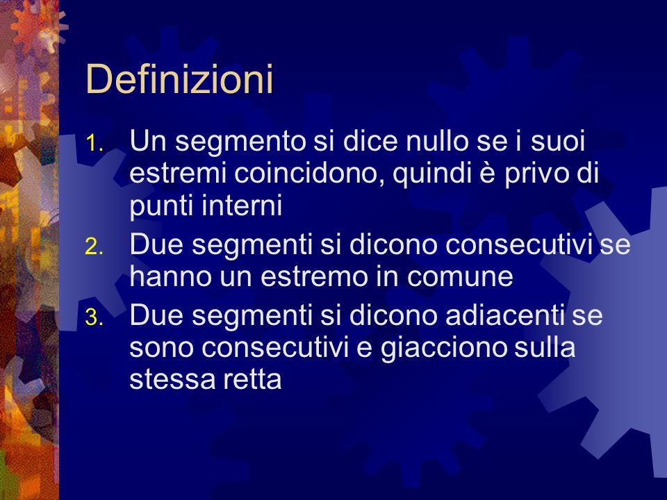 Definizioni 1. Un segmento si dice nullo se i suoi estremi coincidono, quindi è privo di punti interni 2. Due segmenti si dicono consecutivi se hanno