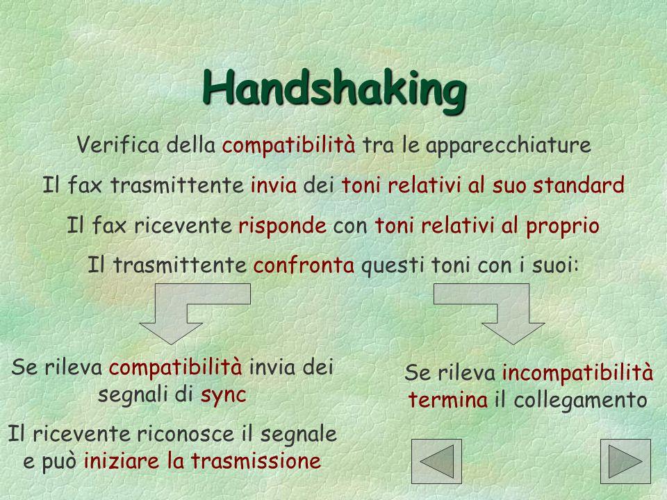Handshaking Verifica della compatibilità tra le apparecchiature Il fax trasmittente invia dei toni relativi al suo standard Il fax ricevente risponde
