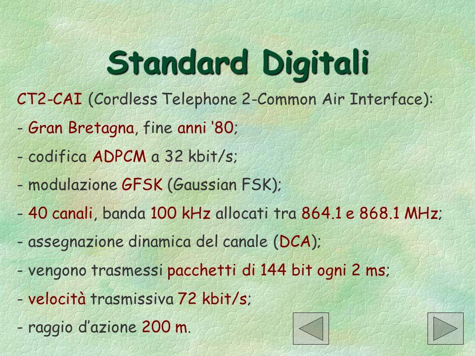 Standard Digitali CT2-CAI (Cordless Telephone 2-Common Air Interface): - Gran Bretagna, fine anni 80; - codifica ADPCM a 32 kbit/s; - modulazione GFSK