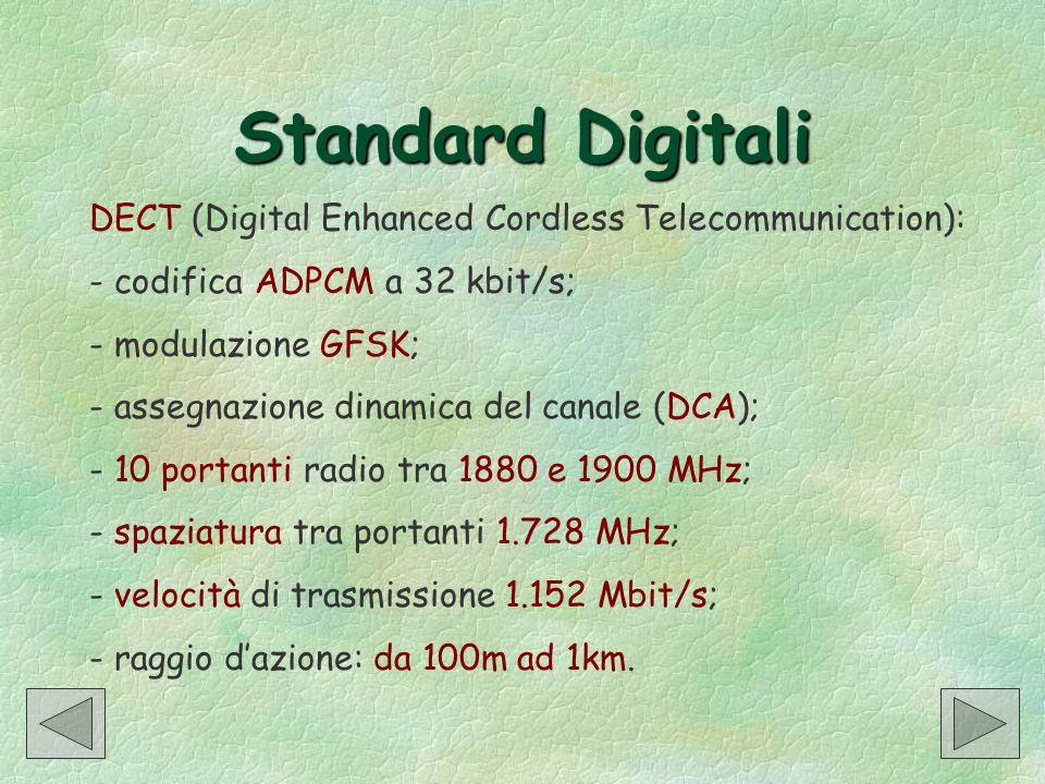 Standard Digitali DECT (Digital Enhanced Cordless Telecommunication): - codifica ADPCM a 32 kbit/s; - modulazione GFSK; - assegnazione dinamica del ca