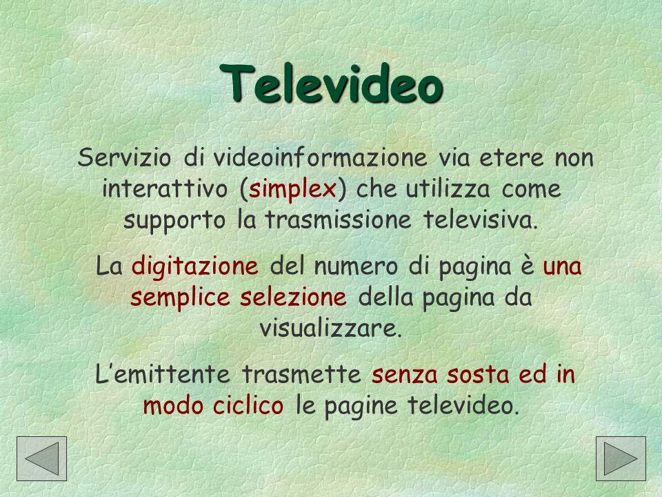Televideo Servizio di videoinformazione via etere non interattivo (simplex) che utilizza come supporto la trasmissione televisiva. La digitazione del