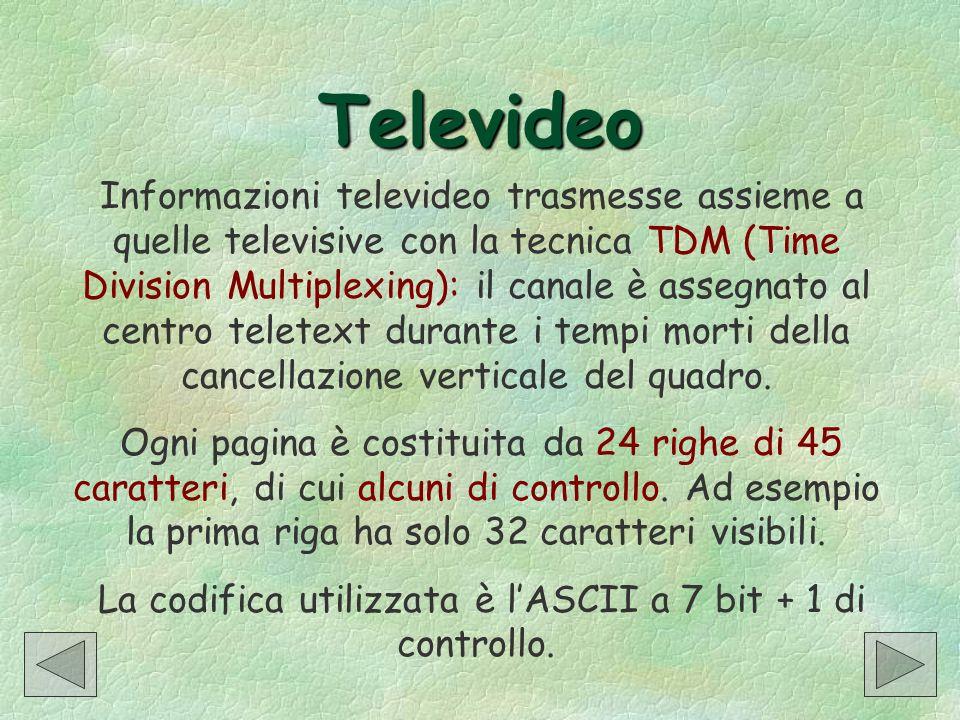 Televideo Informazioni televideo trasmesse assieme a quelle televisive con la tecnica TDM (Time Division Multiplexing): il canale è assegnato al centr