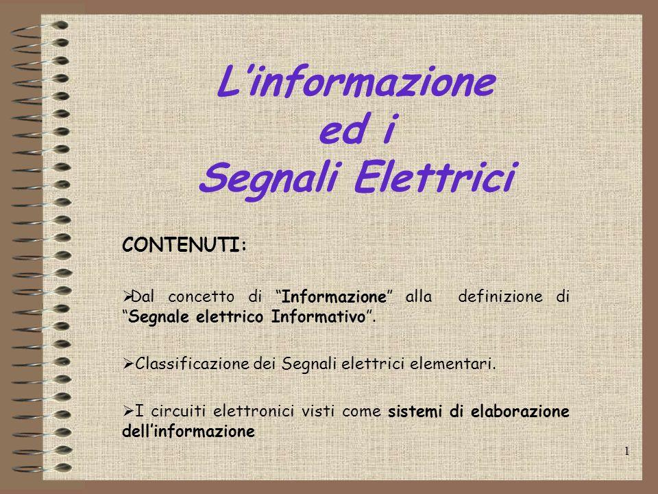 1 Linformazione ed i Segnali Elettrici CONTENUTI: Dal concetto di Informazione alla definizione diSegnale elettrico Informativo. Classificazione dei S