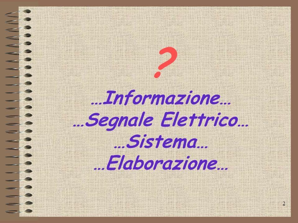 2 ? …Informazione… …Segnale Elettrico… …Sistema… …Elaborazione…