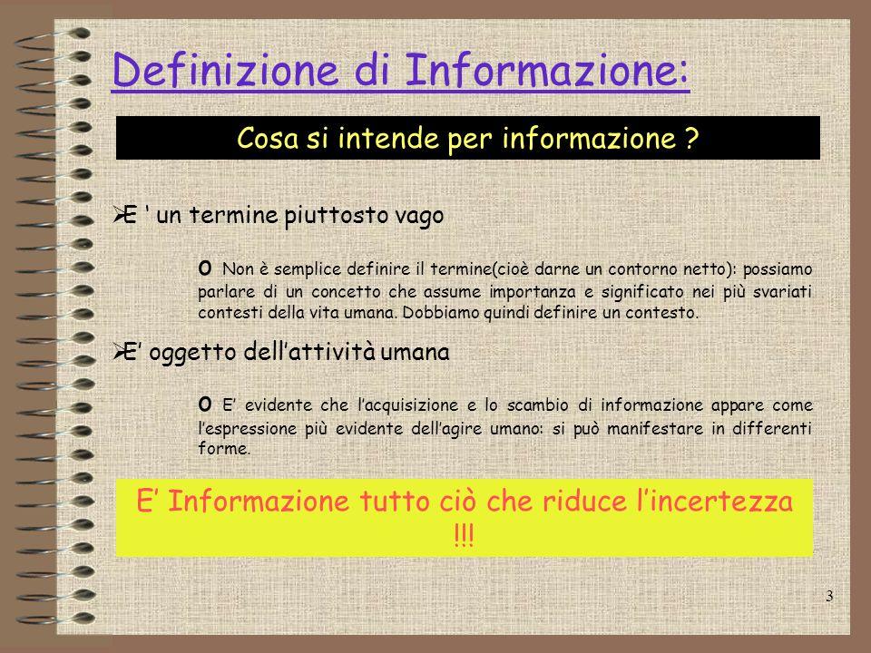 3 Definizione di Informazione: Cosa si intende per informazione ? E un termine piuttosto vago o Non è semplice definire il termine(cioè darne un conto