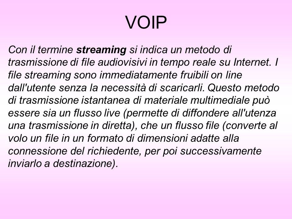VOIP Con il termine streaming si indica un metodo di trasmissione di file audiovisivi in tempo reale su Internet. I file streaming sono immediatamente