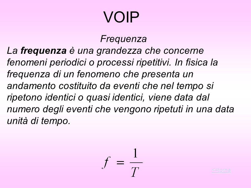 VOIP Frequenza La frequenza è una grandezza che concerne fenomeni periodici o processi ripetitivi. In fisica la frequenza di un fenomeno che presenta