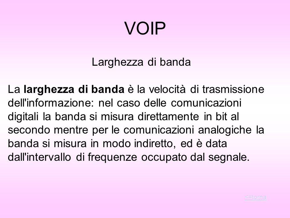 VOIP Larghezza di banda La larghezza di banda è la velocità di trasmissione dell'informazione: nel caso delle comunicazioni digitali la banda si misur