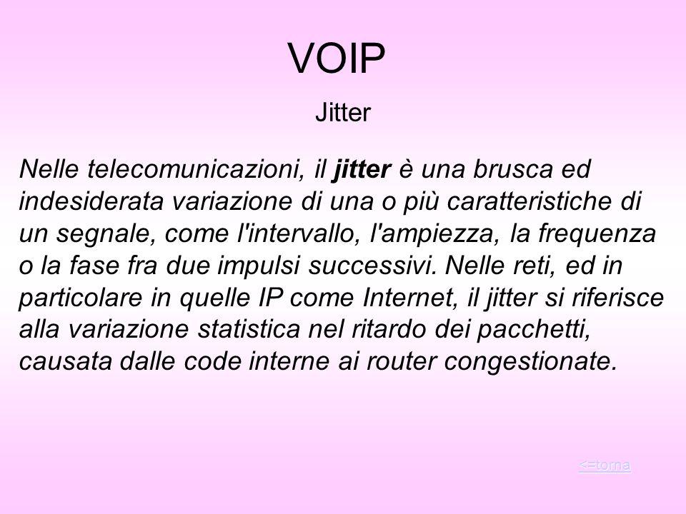 Jitter Nelle telecomunicazioni, il jitter è una brusca ed indesiderata variazione di una o più caratteristiche di un segnale, come l'intervallo, l'amp