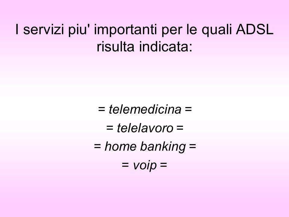 I servizi piu' importanti per le quali ADSL risulta indicata: = telemedicina = = telelavoro = = home banking = = voip =