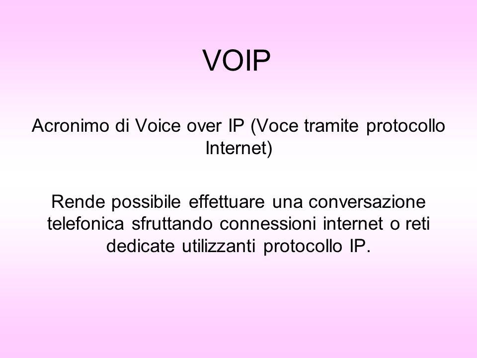 VOIP Acronimo di Voice over IP (Voce tramite protocollo Internet) Rende possibile effettuare una conversazione telefonica sfruttando connessioni inter