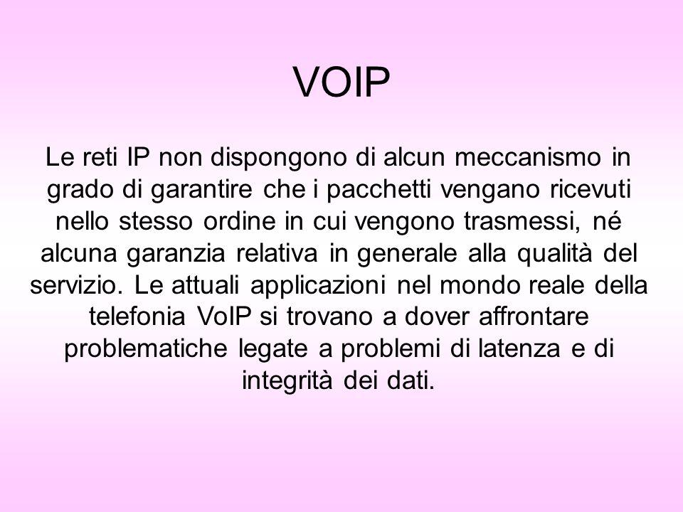VOIP problemi e soluzioni Alcune implementazioni sono in grado di distinguere via hardware i pacchetti VoIP dagli altri, ed assegnare di conseguenza ad essi una priorità maggiore