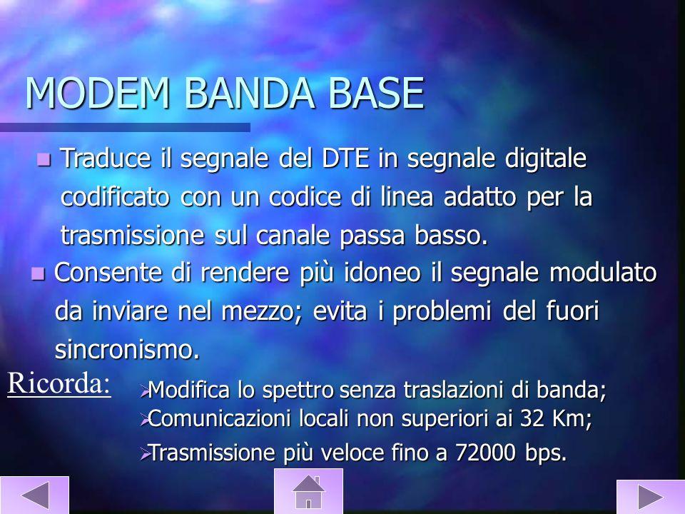 MODEM BANDA BASE Traduce il segnale del DTE in segnale digitale Traduce il segnale del DTE in segnale digitale codificato con un codice di linea adatt