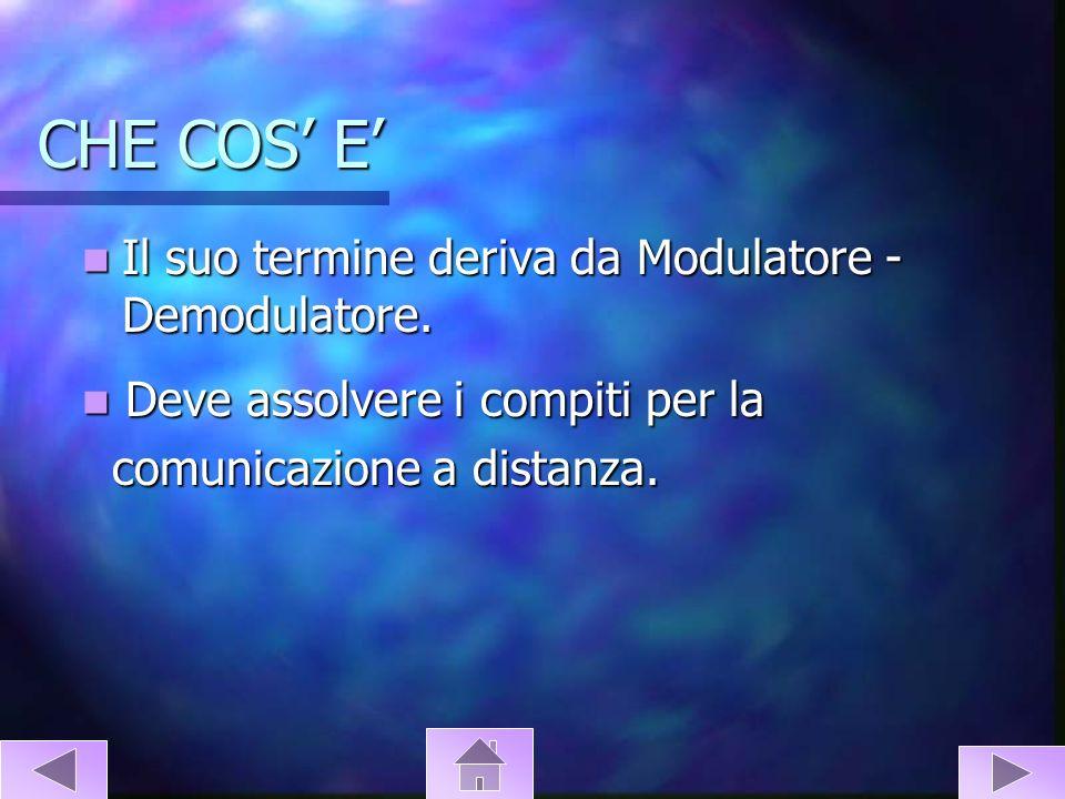 CHE COS E Il suo termine deriva da Modulatore - Demodulatore. Il suo termine deriva da Modulatore - Demodulatore. Deve assolvere i compiti per la Deve