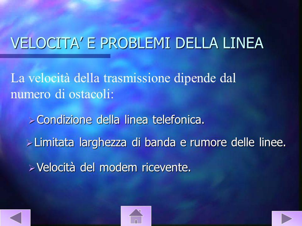 VELOCITA E PROBLEMI DELLA LINEA La velocità della trasmissione dipende dal numero di ostacoli: Condizione della linea telefonica. Condizione della lin