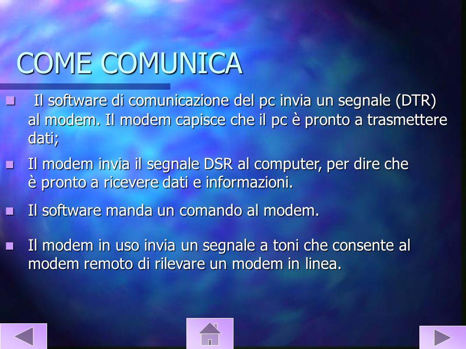 COME COMUNICA Il software di comunicazione del pc invia un segnale (DTR) al modem. Il modem capisce che il pc è pronto a trasmettere dati; Il software
