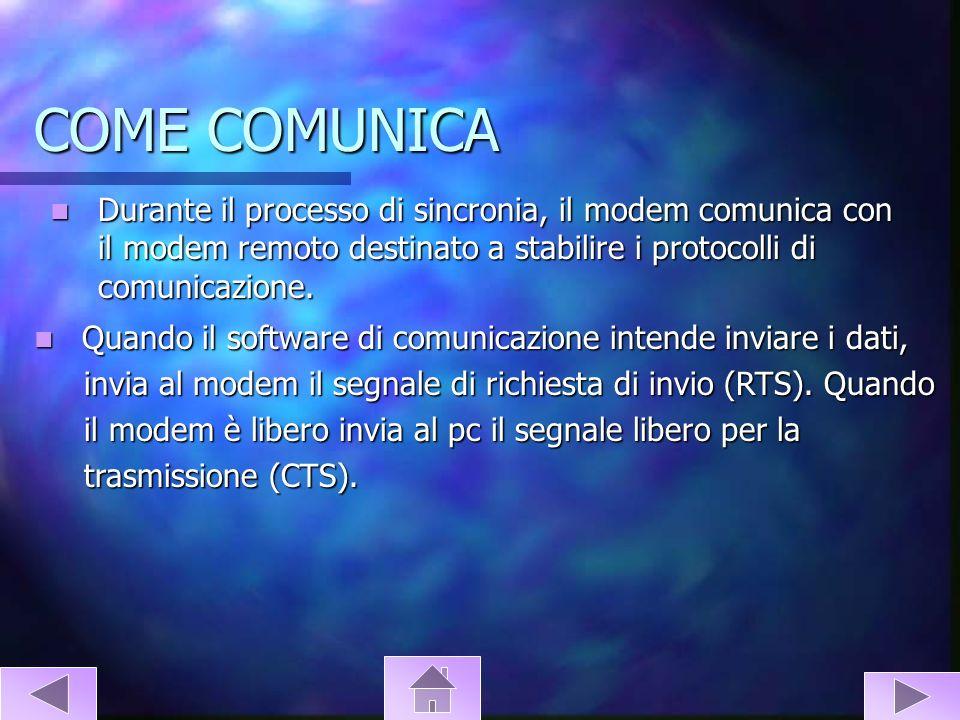COME COMUNICA Il modem fa la modulazione dei dati digitali che il computer Il modem fa la modulazione dei dati digitali che il computer intende inviare, e li trasmette.