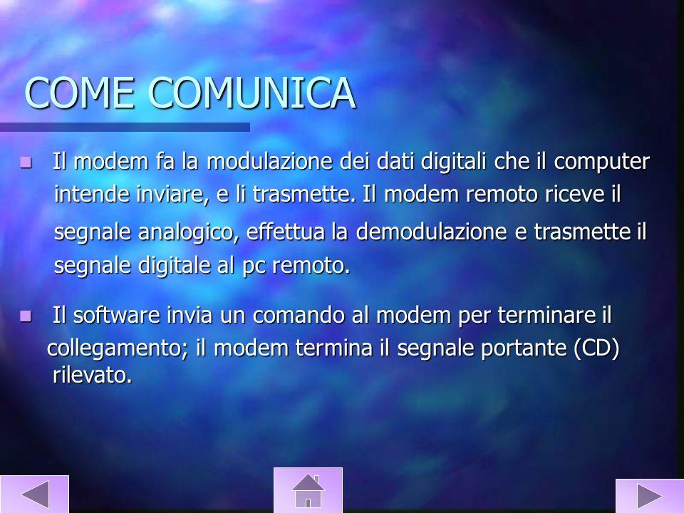 COME COMUNICA Il modem fa la modulazione dei dati digitali che il computer Il modem fa la modulazione dei dati digitali che il computer intende inviar