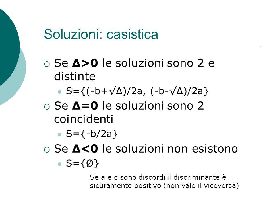 Soluzioni: casistica Se Δ>0 le soluzioni sono 2 e distinte S={(-b+Δ)/2a, (-b-Δ)/2a} Se Δ=0 le soluzioni sono 2 coincidenti S={-b/2a} Se Δ<0 le soluzio