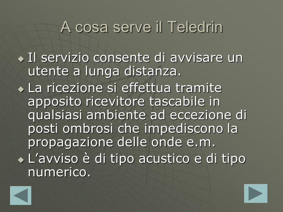 A cosa serve il Teledrin Il servizio consente di avvisare un utente a lunga distanza. Il servizio consente di avvisare un utente a lunga distanza. La