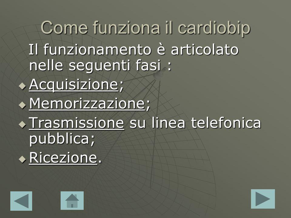 Come funziona il cardiobip Il funzionamento è articolato nelle seguenti fasi : Il funzionamento è articolato nelle seguenti fasi : Acquisizione; Acqui