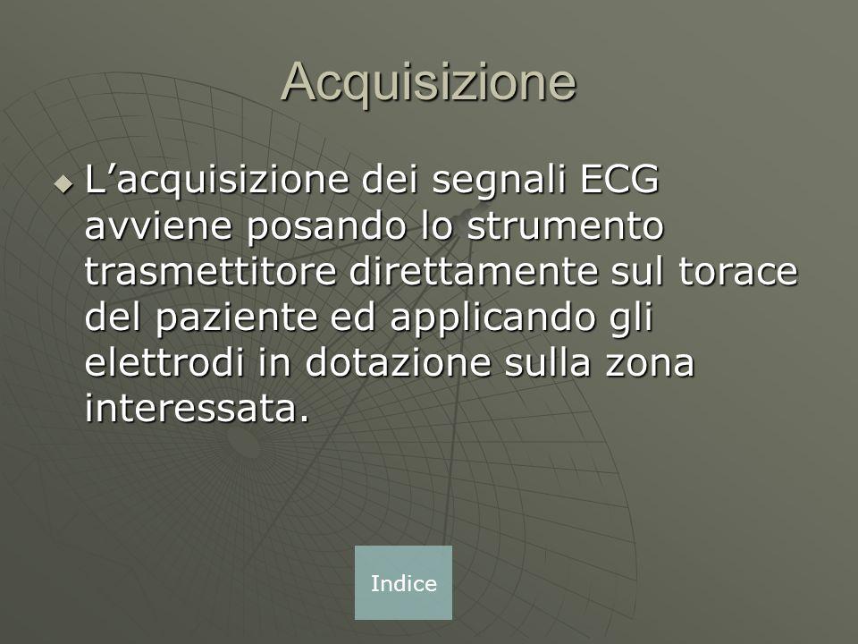 Acquisizione Lacquisizione dei segnali ECG avviene posando lo strumento trasmettitore direttamente sul torace del paziente ed applicando gli elettrodi in dotazione sulla zona interessata.