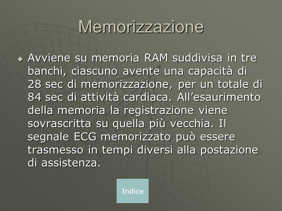 Memorizzazione Avviene su memoria RAM suddivisa in tre banchi, ciascuno avente una capacità di 28 sec di memorizzazione, per un totale di 84 sec di attività cardiaca.