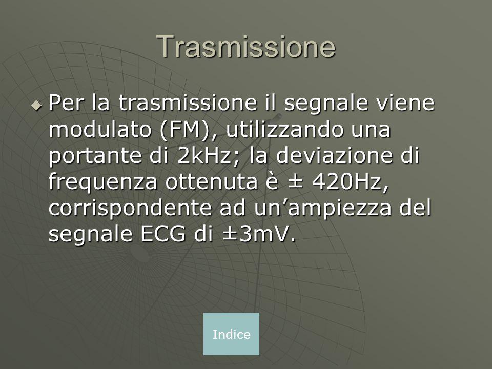 Trasmissione Per la trasmissione il segnale viene modulato (FM), utilizzando una portante di 2kHz; la deviazione di frequenza ottenuta è ± 420Hz, corrispondente ad unampiezza del segnale ECG di ±3mV.