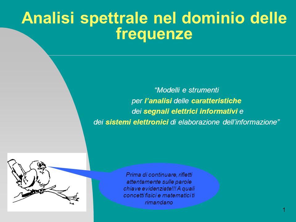 1 Analisi spettrale nel dominio delle frequenze Modelli e strumenti per lanalisi delle caratteristiche dei segnali elettrici informativi e dei sistemi