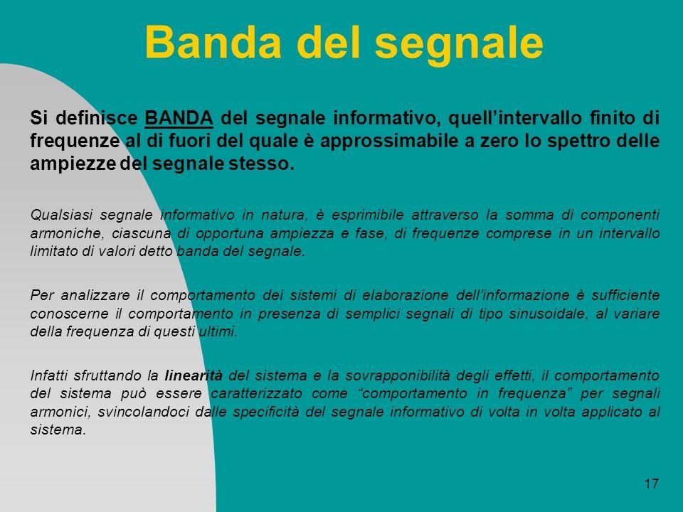 17 Banda del segnale Si definisce BANDA del segnale informativo, quellintervallo finito di frequenze al di fuori del quale è approssimabile a zero lo