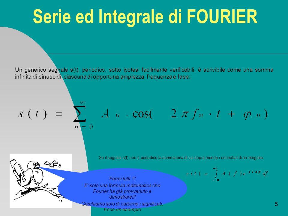 5 Serie ed Integrale di FOURIER Un generico segnale s(t), periodico, sotto ipotesi facilmente verificabili, è scrivibile come una somma infinita di si