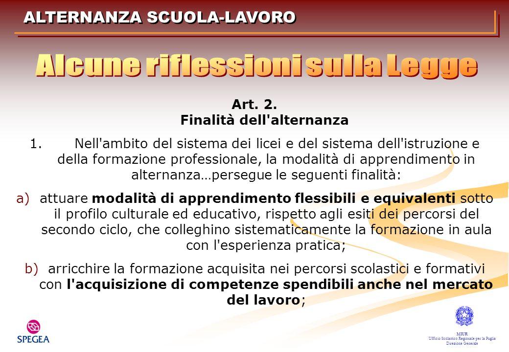 Art. 2. Finalità dell'alternanza 1. Nell'ambito del sistema dei licei e del sistema dell'istruzione e della formazione professionale, la modalità di a