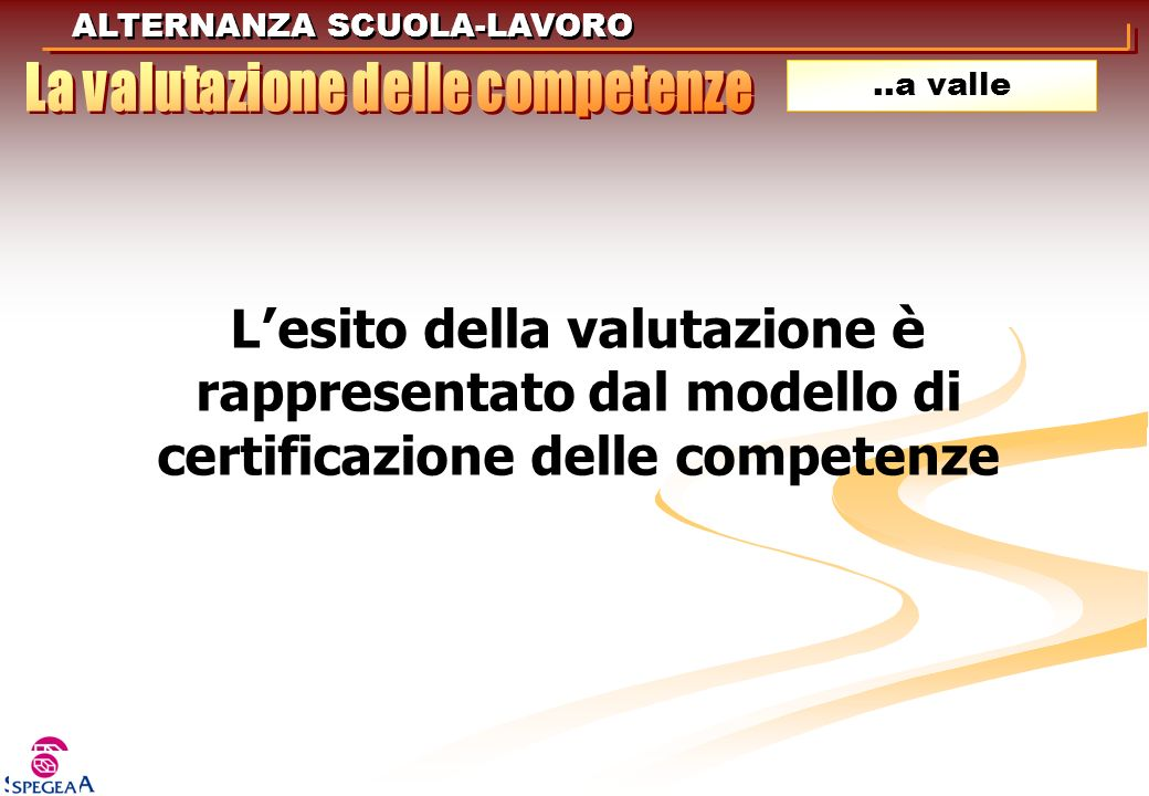 ALTERNANZA SCUOLA-LAVORO..a valle L esito della valutazione è rappresentato dal modello di certificazione delle competenze