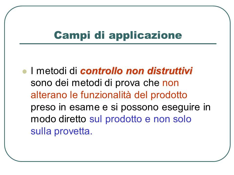 Campi di applicazione controllo non distruttivi I metodi di controllo non distruttivi sono dei metodi di prova che non alterano le funzionalità del pr