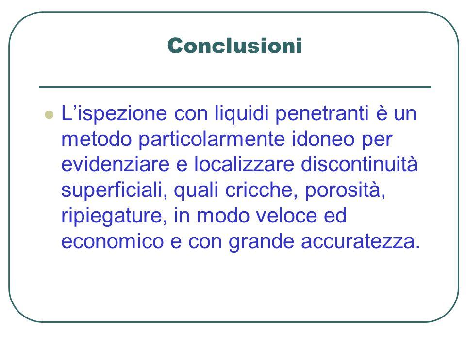 Conclusioni Lispezione con liquidi penetranti è un metodo particolarmente idoneo per evidenziare e localizzare discontinuità superficiali, quali cricc