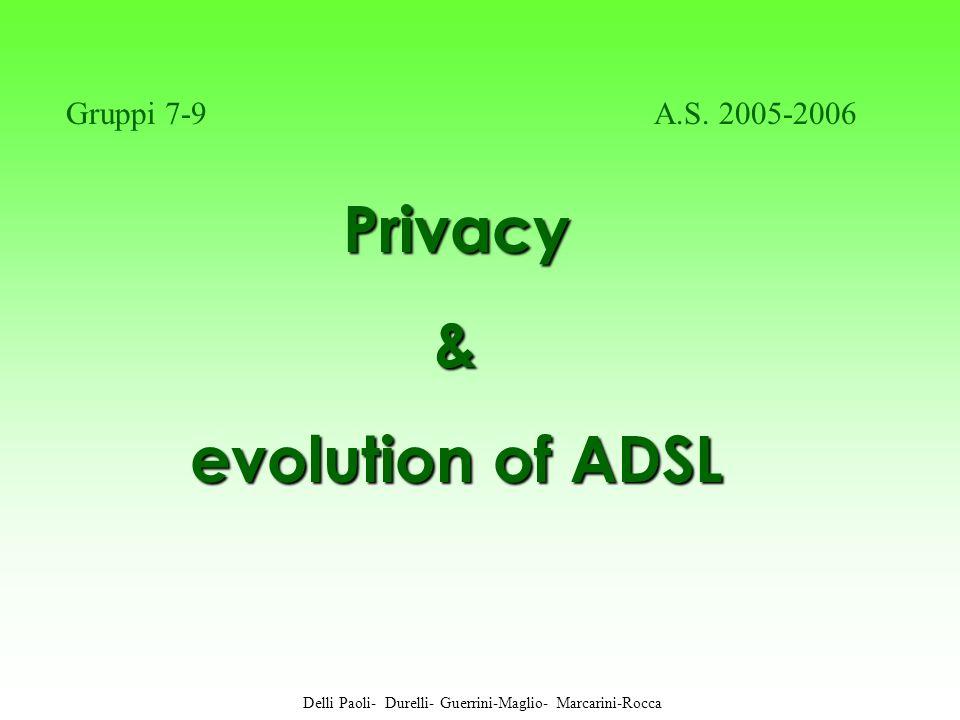 Privacy Privacy& evolution of ADSL Delli Paoli- Durelli- Guerrini-Maglio- Marcarini-Rocca Gruppi 7-9 A.S.
