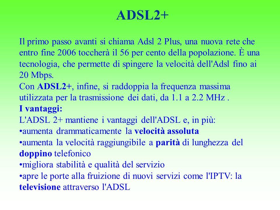 ADSL2+ Il primo passo avanti si chiama Adsl 2 Plus, una nuova rete che entro fine 2006 toccherà il 56 per cento della popolazione.