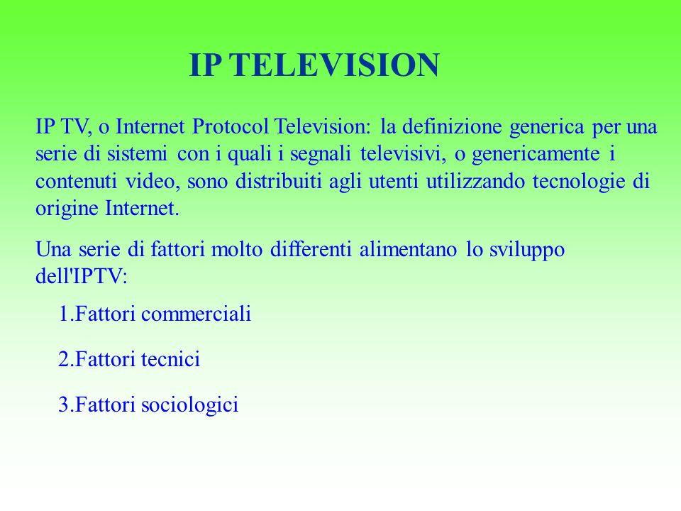 IP TELEVISION IP TV, o Internet Protocol Television: la definizione generica per una serie di sistemi con i quali i segnali televisivi, o genericamente i contenuti video, sono distribuiti agli utenti utilizzando tecnologie di origine Internet.